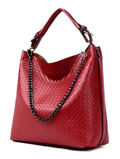Argyle Double Buckle Chain Tote Bag - BURGUNDY  Mobile