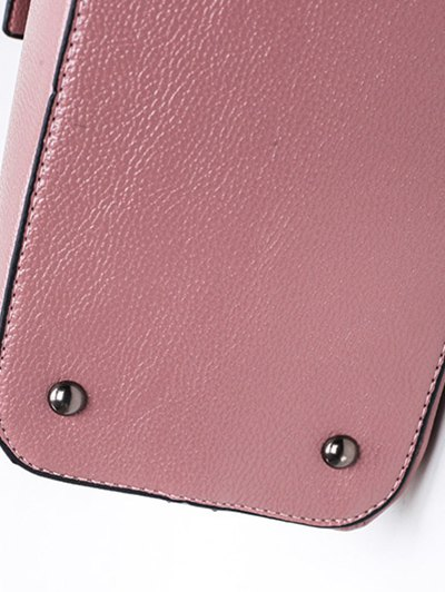 Magnetic Closure Textured Leather Metallic Tote Bag - PINK  Mobile