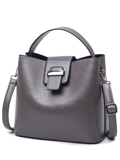 Magnetic Closure Textured Leather Metallic Tote Bag - DEEP GRAY  Mobile