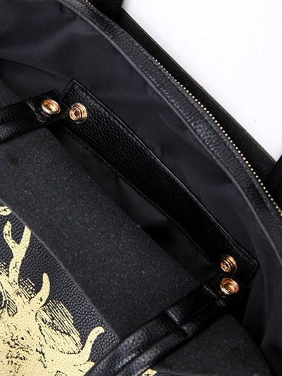 Deer Printed Colour Block Snaps Shoulder Bag - BLACK  Mobile