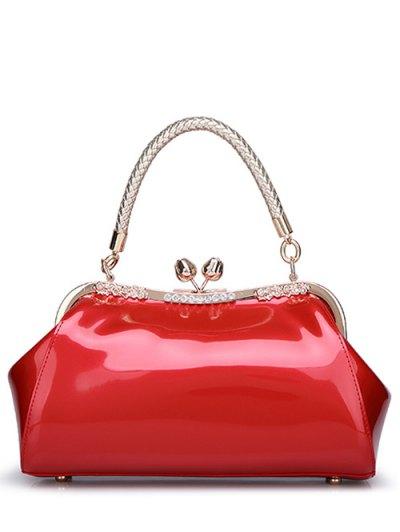 Patent Leather Metal Trimmed Handbag - RED  Mobile