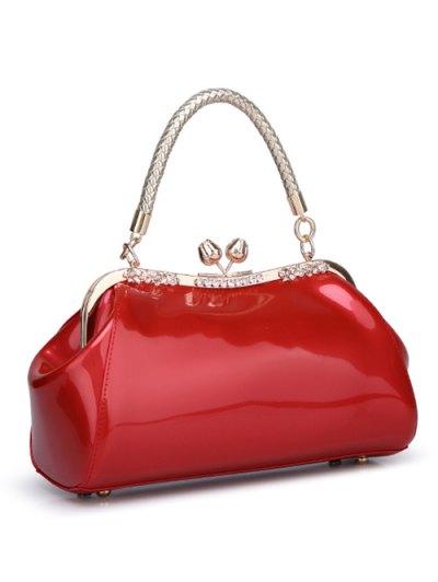 Patent Leather Metal Trimmed Handbag - BLACK  Mobile