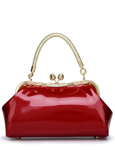 Patent Leather Metal Trimmed Handbag - WINE RED  Mobile