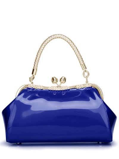 Patent Leather Metal Trimmed Handbag - SAPPHIRE BLUE  Mobile