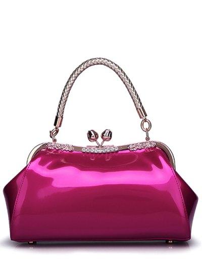 Patent Leather Metal Trimmed Handbag - ROSE RED  Mobile