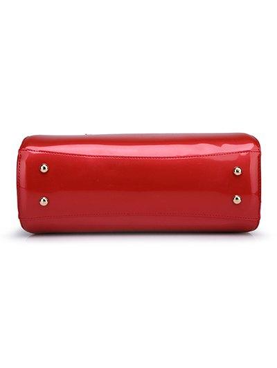 Patent Leather Metal Trimmed Handbag - PINK  Mobile