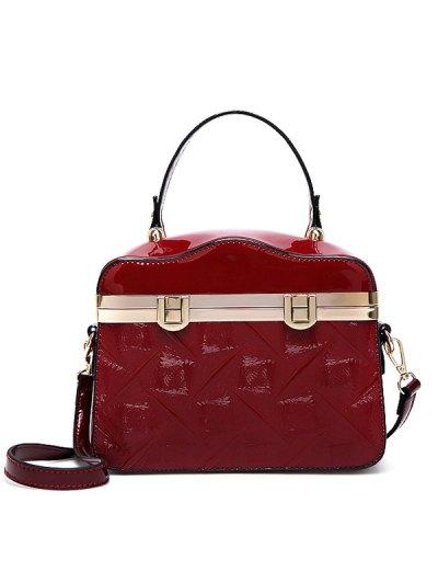 Embossed Metal Trimmed Handbag - WINE RED  Mobile
