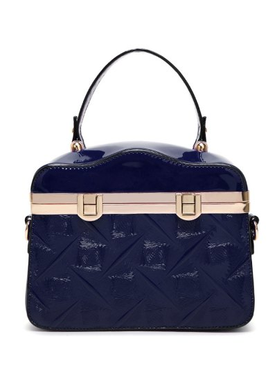 Embossed Metal Trimmed Handbag - DEEP BLUE  Mobile