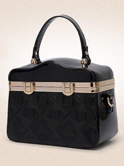 Embossed Metal Trimmed Handbag - BLACK  Mobile