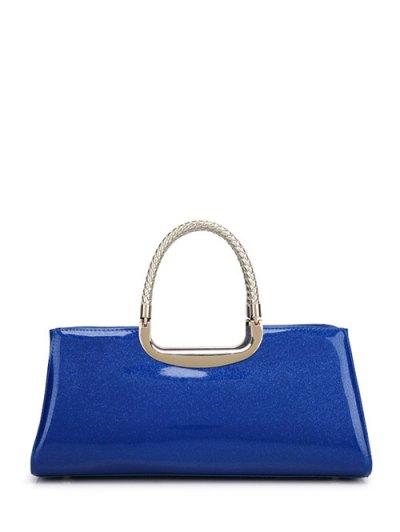 Braid Patent Leather Handbag - SAPPHIRE BLUE  Mobile