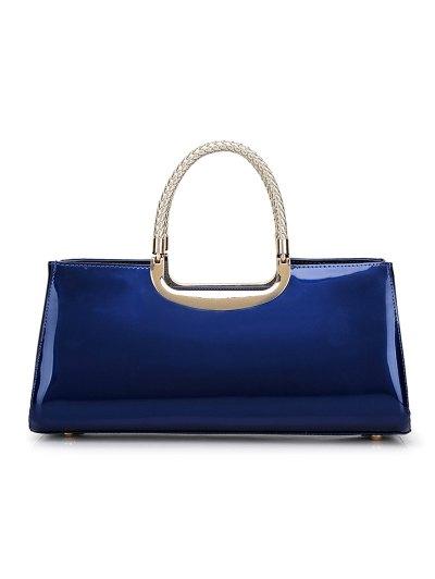 Braid Patent Leather Handbag - DEEP BLUE  Mobile