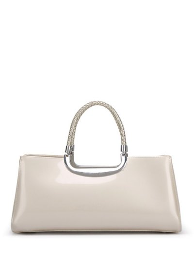 Braid Patent Leather Handbag - OFF-WHITE  Mobile