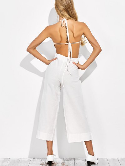 Backless Wide Leg Jumpsuit - WHITE XL Mobile