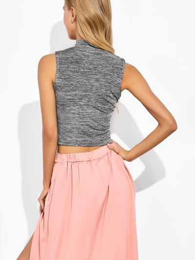 High Neck Cropped Tank Top - GRAY L Mobile