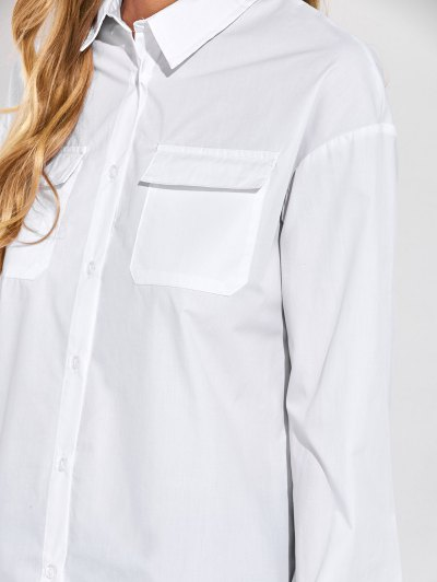 Oversized Boyfriend Shirt With Pocket - WHITE L Mobile