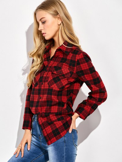 Tartan Print Casual Shirt - RED WITH BLACK XL Mobile