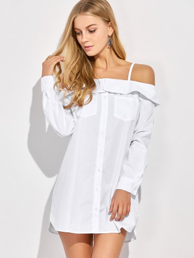 Cold Shoulder Button Up Blouse - WHITE L Mobile