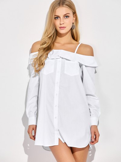 Cold Shoulder Button Up Blouse - WHITE S Mobile