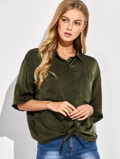 Front Knot Pocket Shirt - GREEN XL Mobile