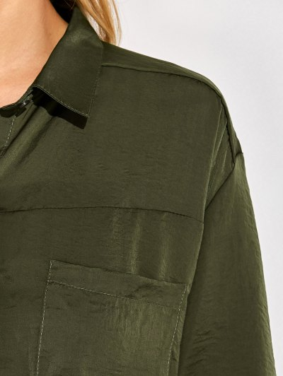 Front Knot Pocket Shirt - GREEN L Mobile