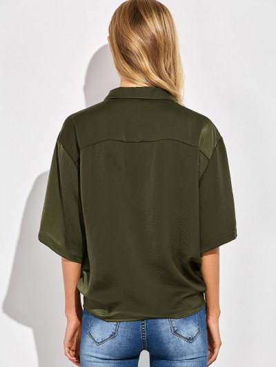 Front Knot Pocket Shirt - GREEN M Mobile
