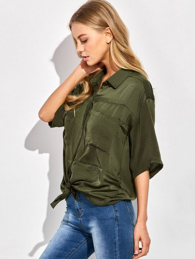 Front Knot Pocket Shirt - GREEN S Mobile