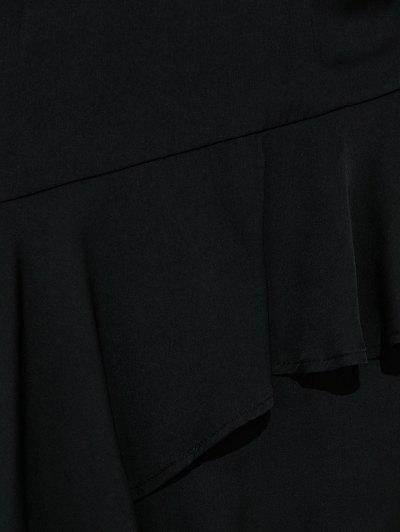 Thin Strap Asymmetric Ruffled Maxi Dress - BLACK XL Mobile
