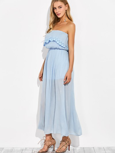 Layered Bandeau Maxi Dress - LIGHT BLUE XL Mobile