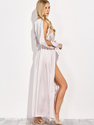 Thigh Split Maxi Plunge Dress - APRICOT L Mobile