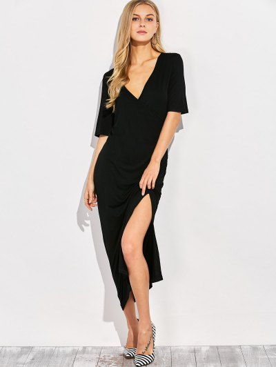 Ruched Side Slit Maxi Dress - BLACK 2XL Mobile
