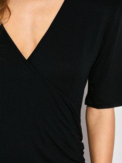 Ruched Side Slit Maxi Dress - BLACK M Mobile