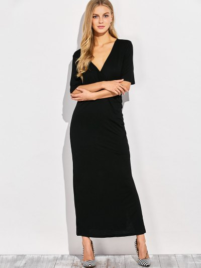 Ruched Side Slit Maxi Dress - BLACK S Mobile