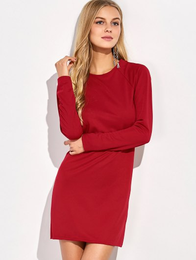Long Sleeve Oepn Back Bodycon Dress - RED L Mobile