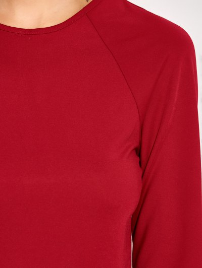 Long Sleeve Oepn Back Bodycon Dress - RED M Mobile