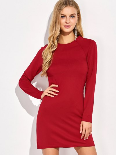 Long Sleeve Oepn Back Bodycon Dress - RED S Mobile