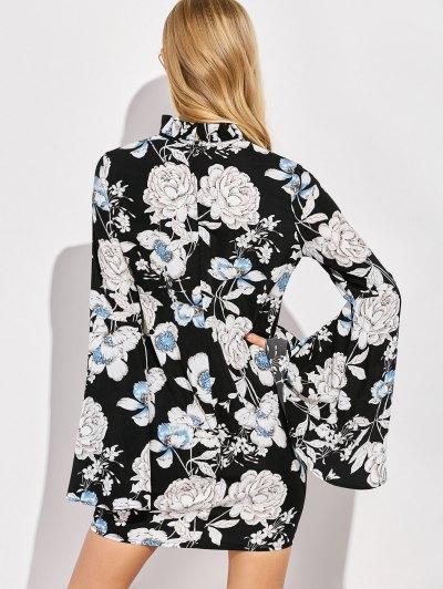 Floral Print Bell Sleeves Dress - BLACK XL Mobile