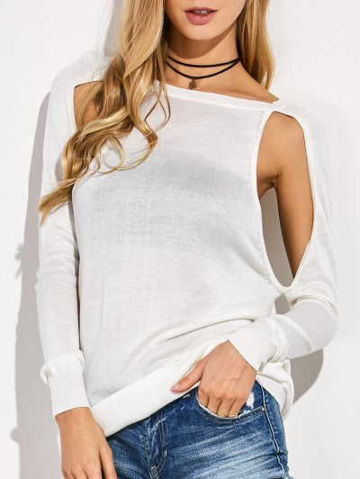 Crew Neck Cut Out Sweater - WHITE L Mobile