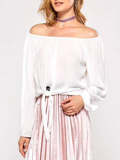 Off The Shoulder Front Knot Blouse - WHITE M Mobile