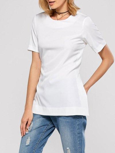 Short Sleeve Open Back Tee - WHITE M Mobile