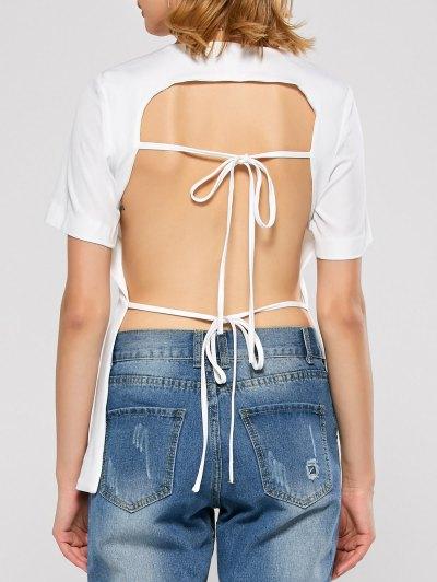Short Sleeve Open Back Tee - WHITE S Mobile