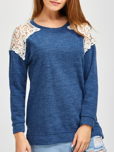 Lace Spliced Slit Sweater - BLUE XL Mobile