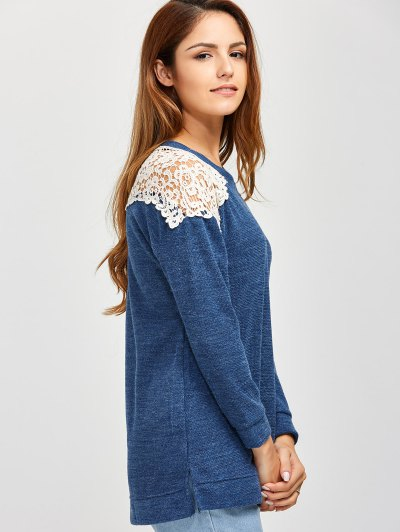 Lace Spliced Slit Sweater - BLUE M Mobile