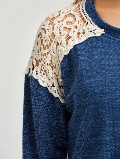 Lace Spliced Slit Sweater - BLUE S Mobile
