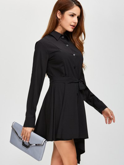 Asymmetric Long Sleeve Shirt Dress - BLACK XL Mobile
