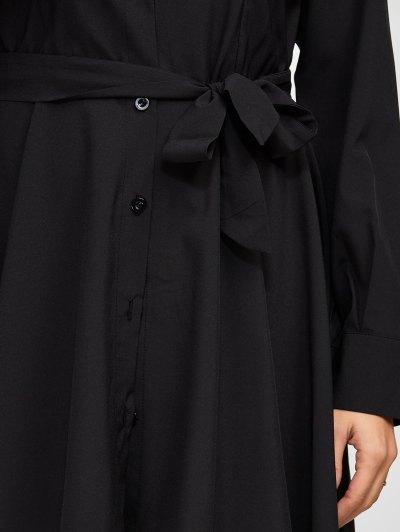 Asymmetric Long Sleeve Shirt Dress - BLACK L Mobile