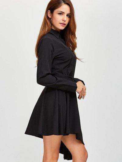 Asymmetric Long Sleeve Shirt Dress - BLACK S Mobile