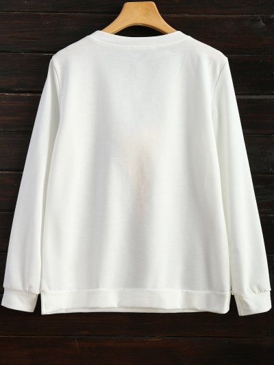 Icecream Cone Pom Pom Sweatshirt - WHITE 2XL Mobile