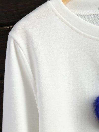 Icecream Cone Pom Pom Sweatshirt - WHITE L Mobile