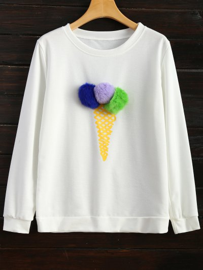 Icecream Cone Pom Pom Sweatshirt - WHITE M Mobile