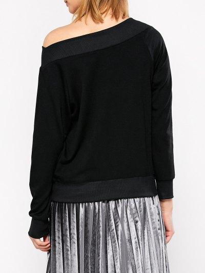 Casual One-Shoulder Sweatshirt - BLACK 2XL Mobile